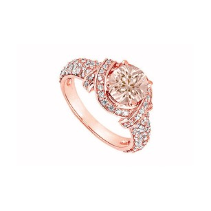 LoveBrightJewelry Morganite Held In Bow Type Design With Cubic Zirconia Accents On 14k Rose Gold Engagement Ring