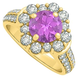 LoveBrightJewelry Perfect Jewelry Gift Amethyst and CZ Ring 2.00 TGW