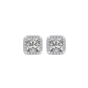 LoveBrightJewelry Perfect Square Cubic Zirconia White Gold Stud Earrings