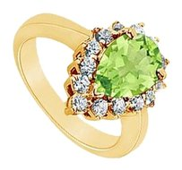 LoveBrightJewelry Peridot and Diamond Ring 14K Yellow Gold 1.50 CT TGW