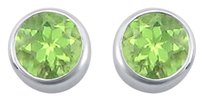 LoveBrightJewelry Peridot Bezel Set Stud Earrings 925 Sterling Silver 2.00 CT TGW