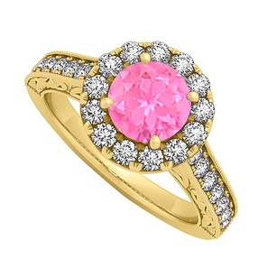 LoveBrightJewelry Pink Sapphire And Cz Halo Engagement Ring In 18k Yellow Gold Vermeil Over Sterling Silver