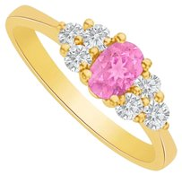 LoveBrightJewelry Pink Sapphire and CZ Seven Stones Ring 2 CT TGW