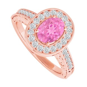 LoveBrightJewelry Pink Sapphire Cz Halo Ring In 14k Rose Gold Vermeil
