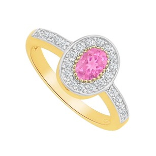 LoveBrightJewelry Pink Sapphire CZ Oval Ring in 18K Yellow Gold Vermeil