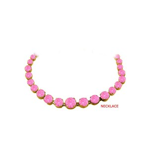 LoveBrightJewelry Pink Sapphire Graduated Necklace in 14K Yellow Gold