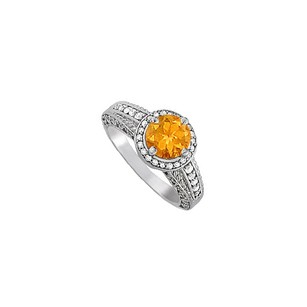 LoveBrightJewelry Pretty Citrine and CZ Ring in Sterling Silver 1.75 TGW