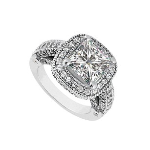 LoveBrightJewelry Pretty Cubic Zirconia Engagement Ring In 14k White Gold