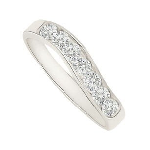 LoveBrightJewelry Pretty Cubic Zirconia Wedding Band In 14k White Gold