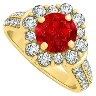 LoveBrightJewelry Pretty Gift Ruby and Cubic Zirconia Ring 2.00 TGW