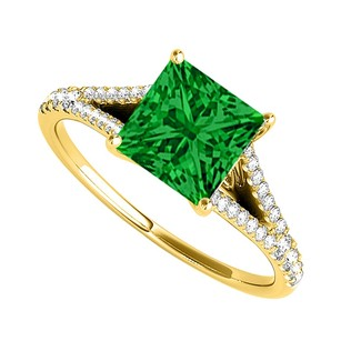 LoveBrightJewelry Princess Cut Emerald Diamonds Engagement Ring 14k Gold