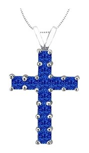 LoveBrightJewelry Princess Cut Natural Blue Sapphire Cross Pendant in 14K White Gold 0.75 Carat Total Gem Weight