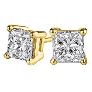 LoveBrightJewelry Princess Cut Natural Diamond Studs in 14K Yellow Gold