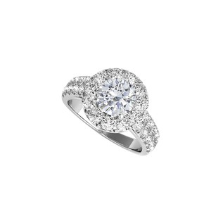LoveBrightJewelry Prong Set Cz Halo Engagement Ring In Sterling Silver