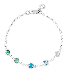 LoveBrightJewelry Rhodium Plating 925 Sterling Silver with Multi Color 7 Inch Bracelet