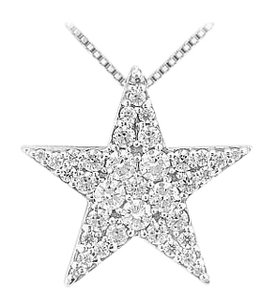 LoveBrightJewelry Rhodium Treated 925 Sterling silver Star Pendant with Cubic Zirconia 1.00 Carat TGW