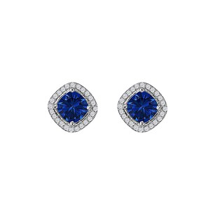 LoveBrightJewelry Rhombus Design Square Stud Earrings with Sapphire CZ
