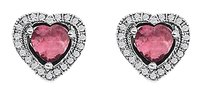 LoveBrightJewelry Romantic Pink Tourmaline Round CZ Stud Heart Earrings