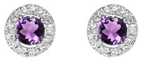 LoveBrightJewelry Round Amethyst and Round White CZ Sterling Silver Stud Earrings
