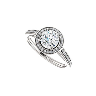 LoveBrightJewelry Round Cubic Zirconia Halo Engagement Ring In 925 Silver