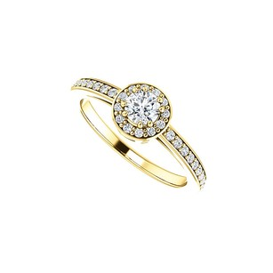 LoveBrightJewelry Round Cubic Zirconia Halo Engagement Ring In Vermeil