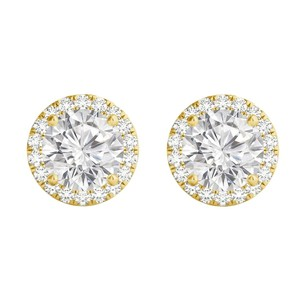 LoveBrightJewelry Round Cubic Zirconia Push Back 14K Yellow Gold Earrings