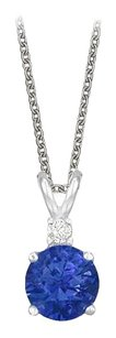 LoveBrightJewelry Round Cut Created Sapphire and Cubic Zirconia Pendant Necklace in Sterling Silver. 1.02.ct.