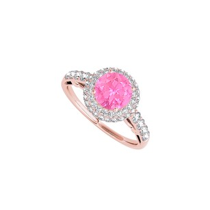 LoveBrightJewelry Round Pink Sapphire Cz Halo Engagement Ring 1.50 Ct Tgw