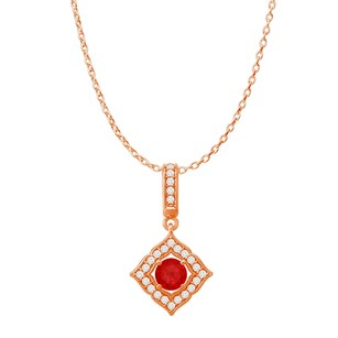 LoveBrightJewelry Round Ruby CZ Halo Square Pendant Rose Gold with Chain