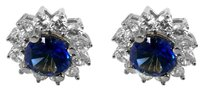 LoveBrightJewelry Round Sapphire and CZ Halo Stud Earrings in 14K White Gold 5 CT TGW