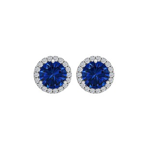 LoveBrightJewelry Round Sapphire CZ Halo Stud Earrings 14K White Gold