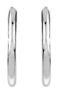 LoveBrightJewelry Round Tube Hinged Earrings in Rhodium Plating 925 Sterling Silver 24.30X14.25 MM