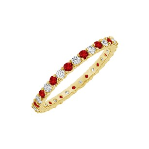 LoveBrightJewelry Ruby and Cubic Zirconia Fashion Bangle in Yellow Gold