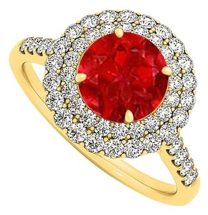 LoveBrightJewelry Ruby and Cubic Zirconia Halo Engagement Ring 1.50 TGW