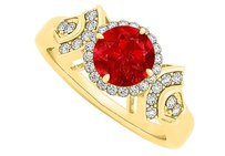 LoveBrightJewelry Ruby And Cubic Zirconia Ring In Yellow Gold Vermeil