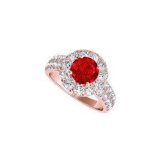LoveBrightJewelry Ruby And Cz Halo Engagement Ring In Rose Gold Vermeil
