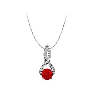LoveBrightJewelry Ruby and CZ Infinite Passion Freeform Pendant in Gold