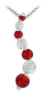 LoveBrightJewelry Ruby and Diamond Journey Pendant 14K White Gold 1.00 CT TGW