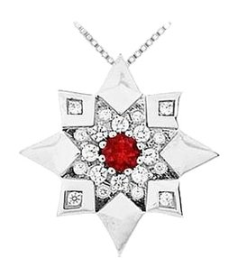 LoveBrightJewelry Ruby and Diamond Star Pendant 14K White Gold 0.66 CT TGW