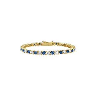 LoveBrightJewelry Sapphire and Cubic Zirconia Tennis Bracelet in 18K Yellow Gold