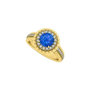 LoveBrightJewelry Sapphire And Cz Halo Engagement Ring In Yellow Gold Vermeil With Interesting Design Cool Price