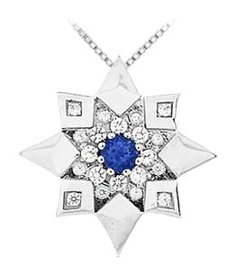 LoveBrightJewelry Sapphire and Diamond Star Pendant 14K White Gold 0.66 CT TGW