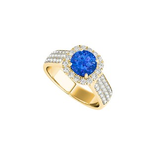 LoveBrightJewelry Sapphire Engagement Ring With Three Cz Rows 1.75 Ct Tgw