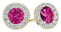 LoveBrightJewelry September Birthstone Created Pink Sapphire and CZ Halo Stud Earrings 18K Yellow Gold Vermeil 1 C