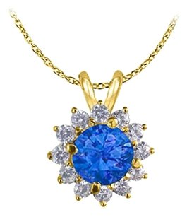 LoveBrightJewelry September Birthstone Sapphire and Cubic Zirconia Flower Pendant in 18K Yellow Gold Vermeil