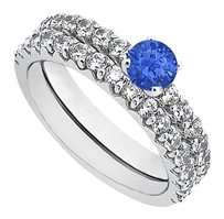 LoveBrightJewelry September Birthstone Sapphire and CZ Engagement Ring with Sterling Silver Wedding Band Set