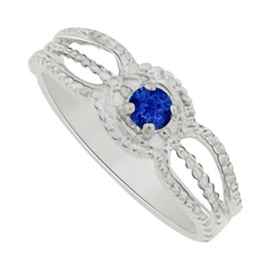 LoveBrightJewelry September Birthstone Sapphire Mother Ring White Gold