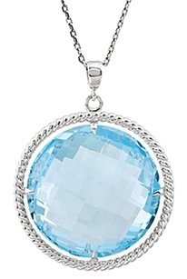 LoveBrightJewelry Sky Blue Topaz Pendant of 20MM Round in Rope Styled 925 Sterling Silver 18 Inch Necklace