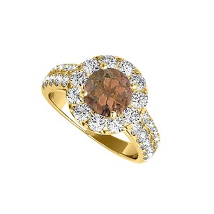 LoveBrightJewelry Smoky Quartz And Cz Halo Ring In Yellow Gold Vermeil