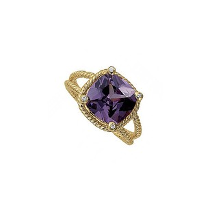 LoveBrightJewelry Square Amethyst Bezel Set CZ Ring in 14K Yellow Gold